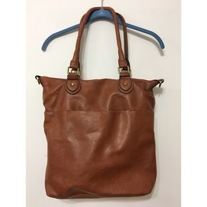 Merona Brown Faux Leather Tote Purse Bag